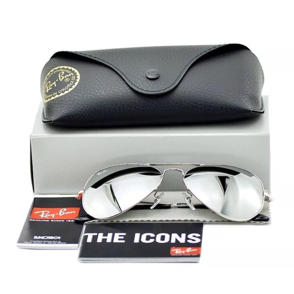 b4ede24433612  NEW  Authentic Rayban mirrored Silver Aviators